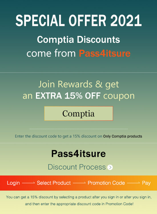 Pass4itsure CompTIA dumps discount code 2021